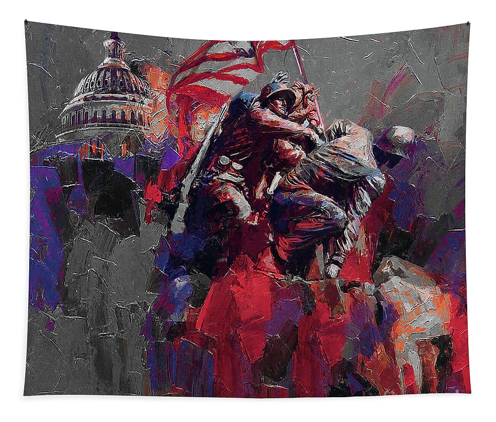 Color On A Grey Day Tapestry featuring the painting Jima Memorial by Gull G