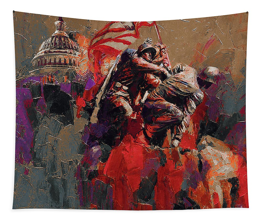 Color On A Grey Day Tapestry featuring the painting Jima Memorial Washington Dc by Gull G