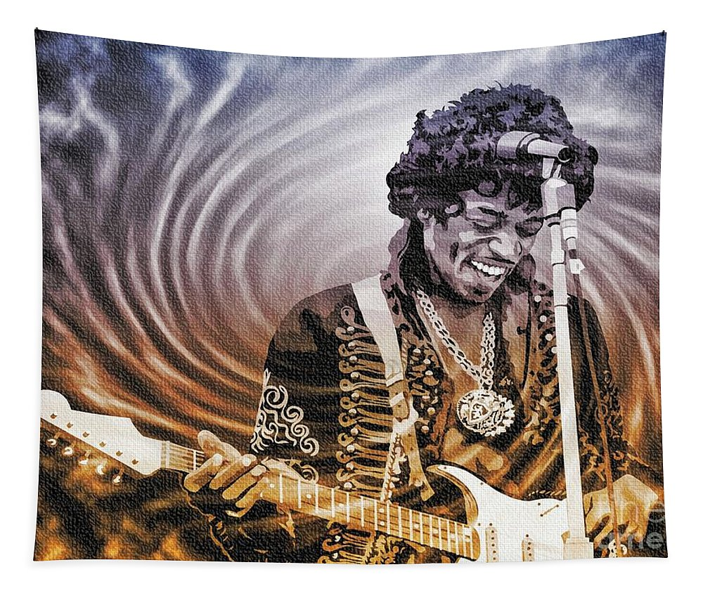 Jimi Hendrix Tapestry featuring the digital art Jimi Hendrix - Legend by Ian Gledhill
