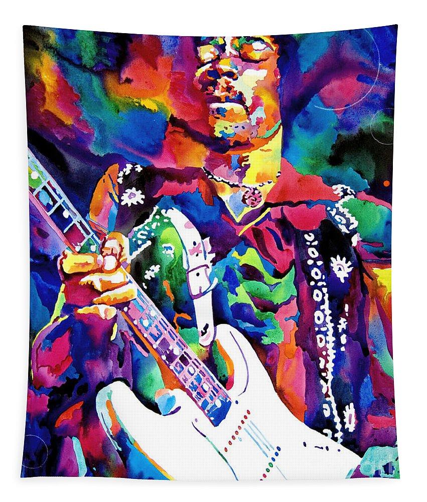 Jimi Hendrix Tapestry featuring the painting Jimi Hendrix Purple by David Lloyd Glover