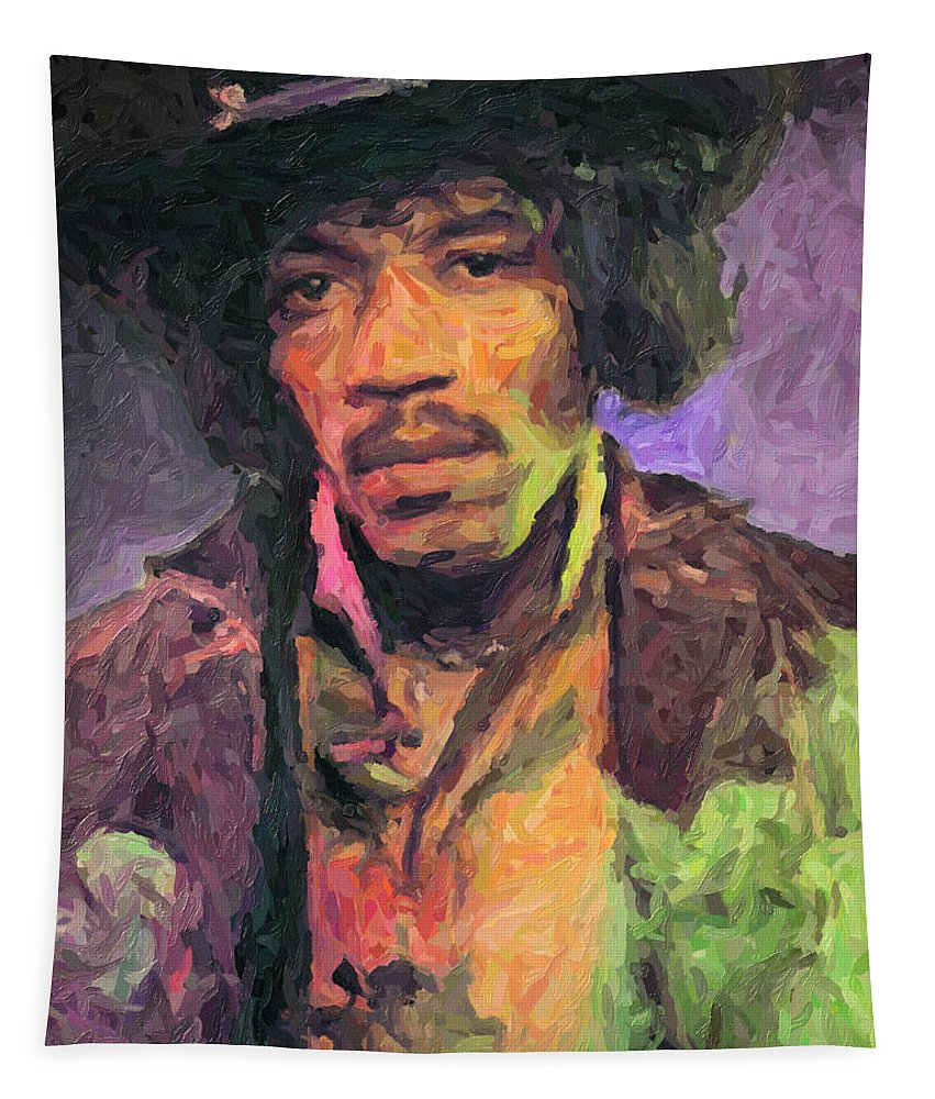 Jimi Hendrix Tapestry featuring the painting Jimi Hendrix by Zapista OU