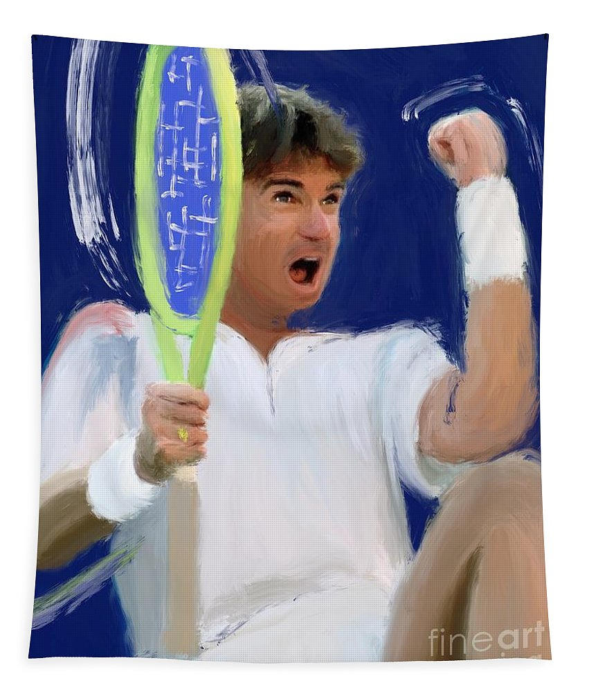 Jimmy Connors Tapestry featuring the painting Jimmy Connors by Jack Bunds