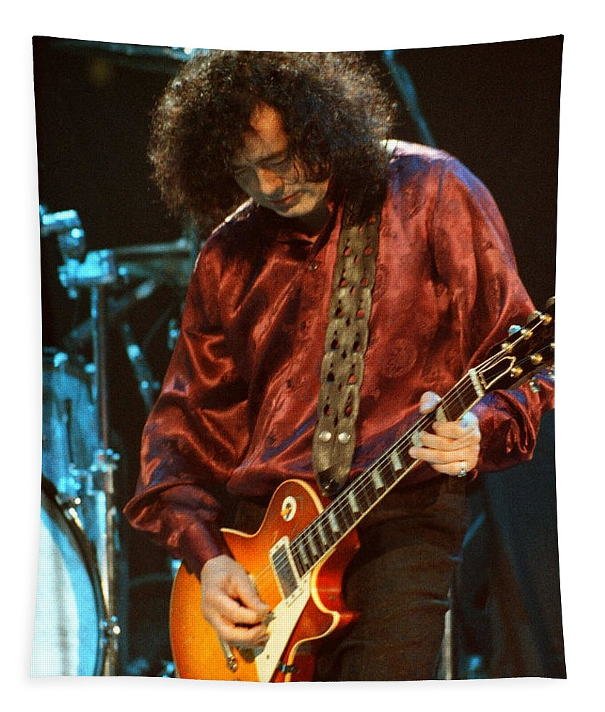 Robert Plant Tapestry featuring the photograph Jimmy Page-0021 by Timothy Bischoff