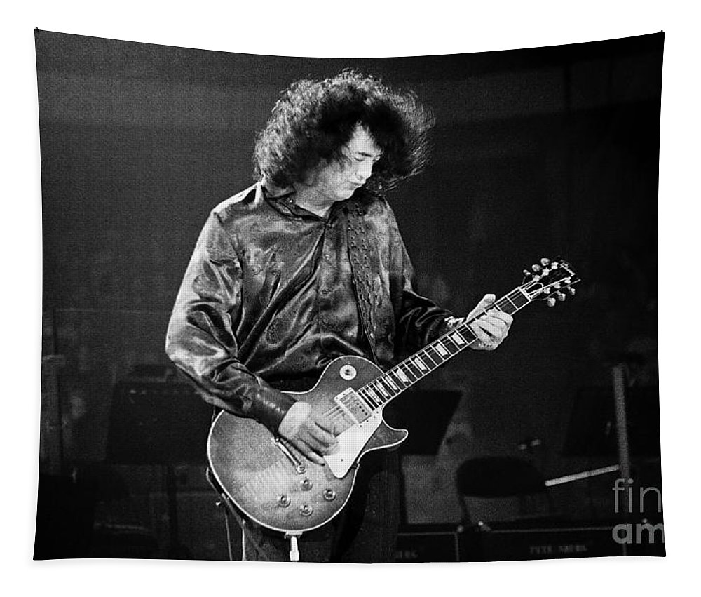 Robert Plant Tapestry featuring the photograph Jimmy Page-0028 by Timothy Bischoff