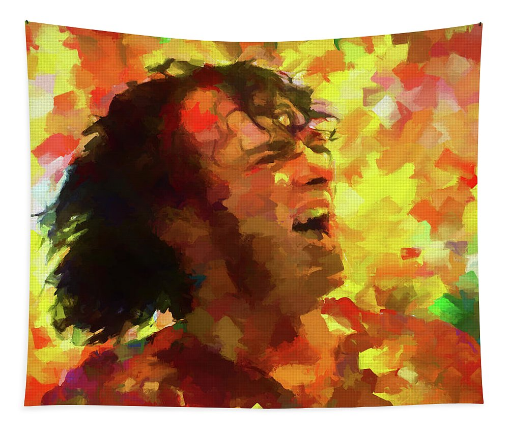 Joe Cocker Colorful Palette Knife Tapestry featuring the painting Joe Cocker Colorful Palette Knife by Dan Sproul