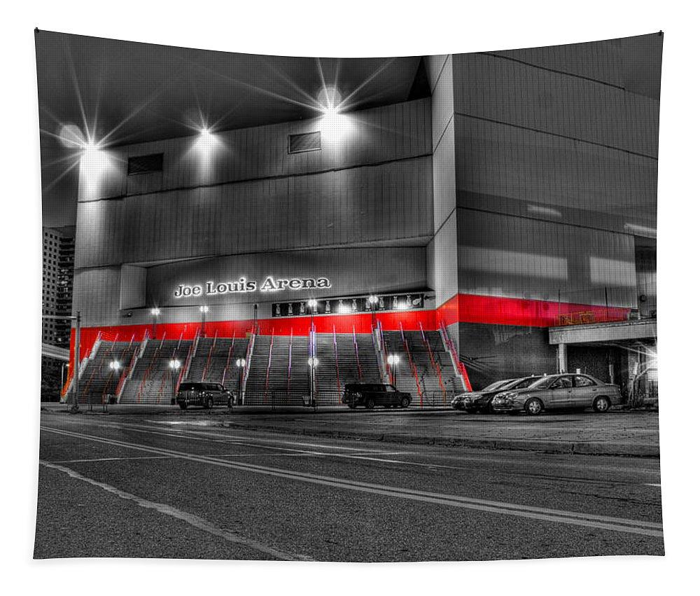 Tapestry featuring the photograph Joe Louis Arena Detroit MI by Nicholas Grunas