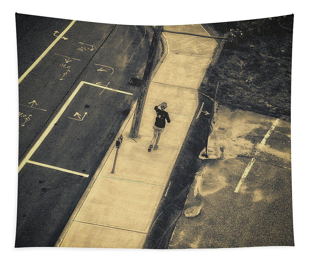 Abstract Tapestry featuring the photograph Jogging by Bob Orsillo