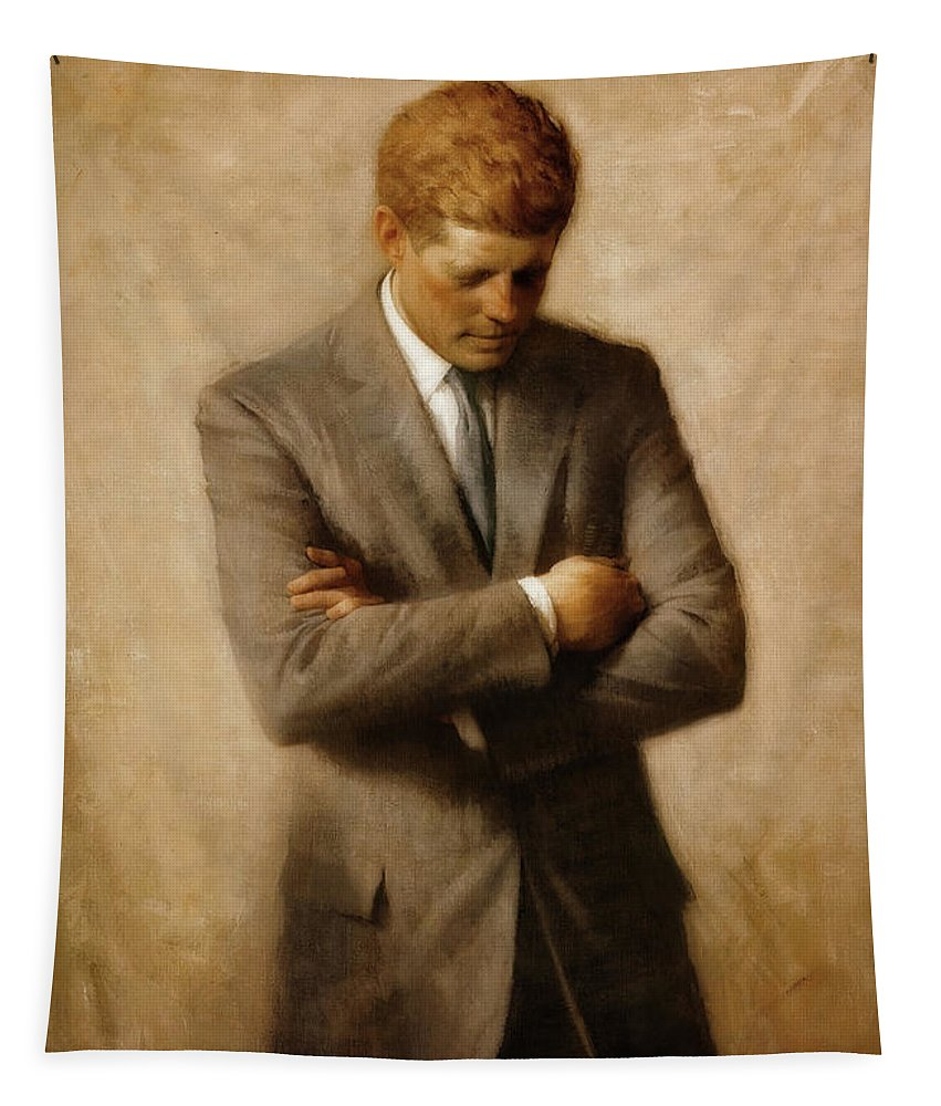 Painting Tapestry featuring the painting John F. Kennedy by Aaron Shikler