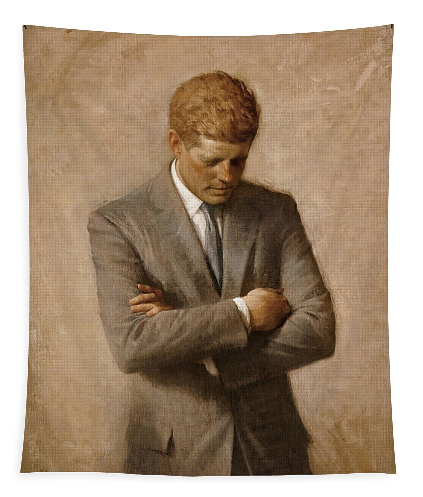 Jfk Tapestry featuring the painting John F Kennedy by War Is Hell Store
