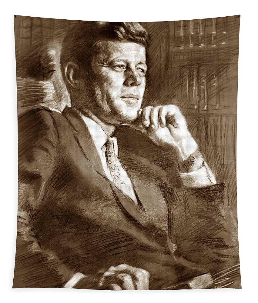 John Fitzgerald Kennedy Tapestry featuring the drawing John Fitzgerald Kennedy by Ylli Haruni