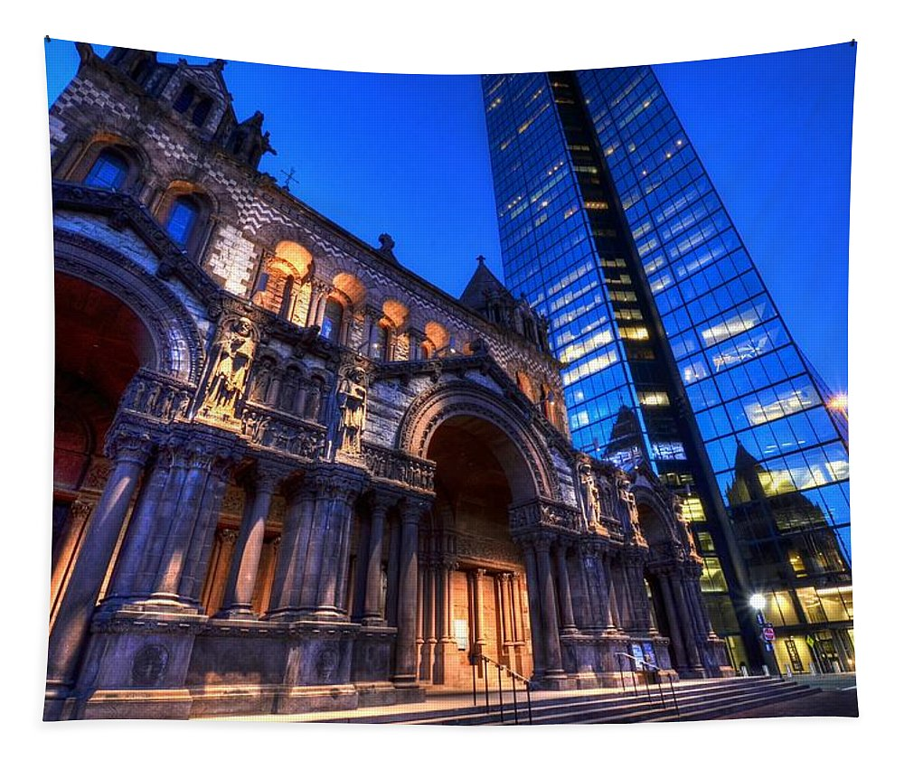 Boston Tapestry featuring the photograph John Hancock Tower Trinity Church Boston Ma by Toby McGuire