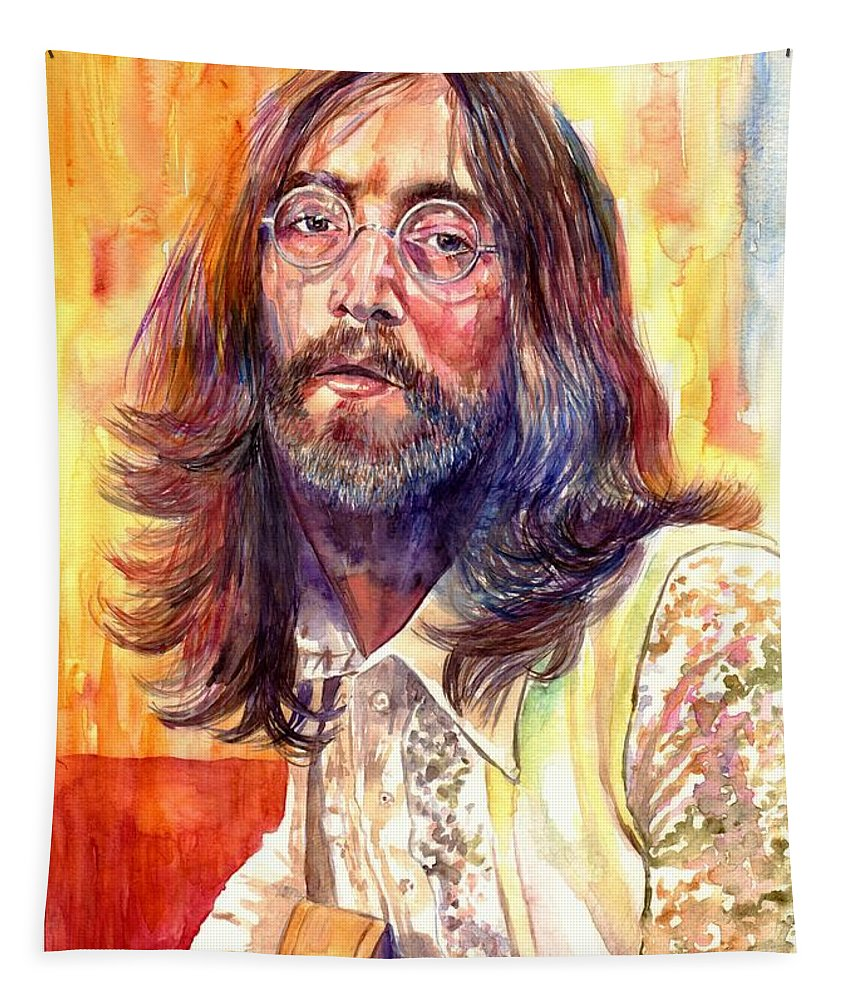 John Lennon Tapestry featuring the painting John Lennon watercolor by Suzann Sines