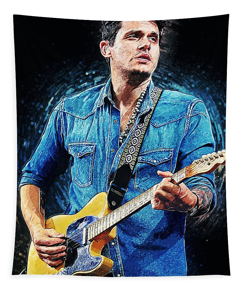 John Mayer Tapestry featuring the digital art John Mayer by Zapista OU