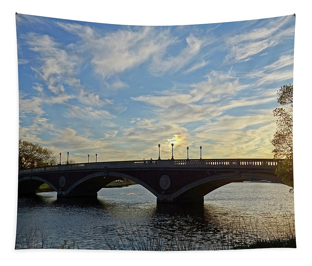 John Tapestry featuring the photograph John Weeks Bridge Harvard Square Chales River Sunset by Toby McGuire