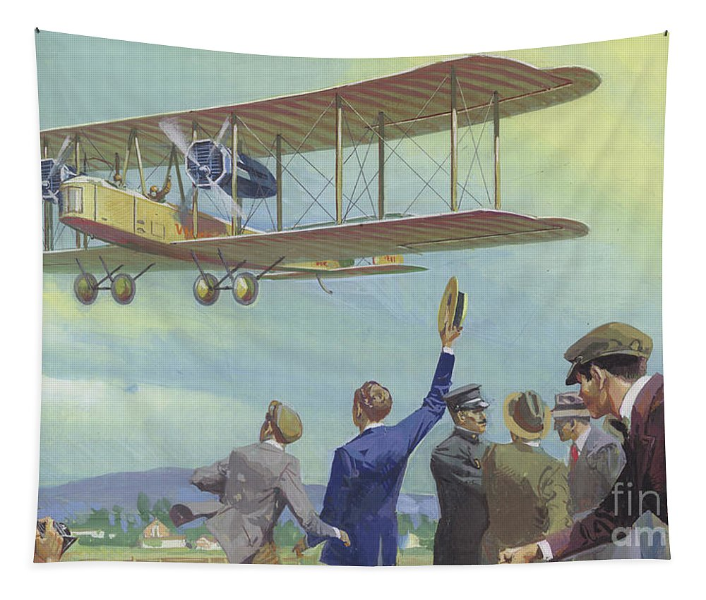 Biplane Tapestry featuring the painting John William Alcock And Arthur Whitten Brown Who Flew Across The Atlantic by Severino Baraldi
