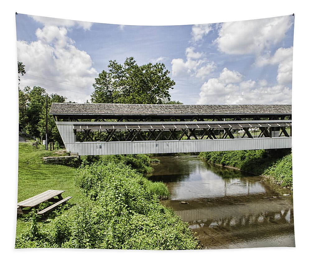 Johnston Covered Bridge Tapestry featuring the photograph Johnston Covered Bridge by Phyllis Taylor