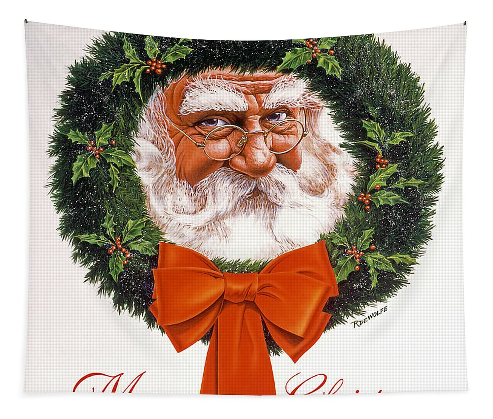 Santa Tapestry featuring the painting Jolly Old Saint Nick by Richard De Wolfe