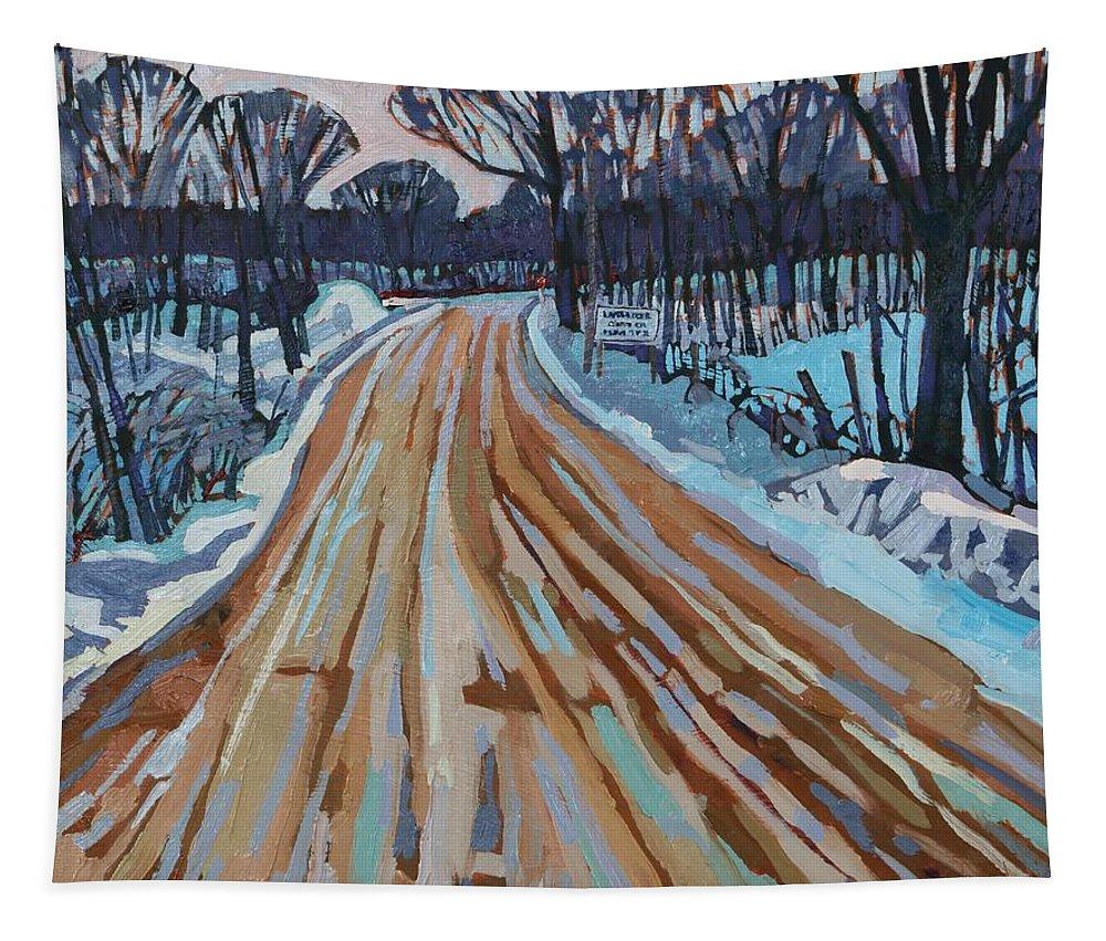 Jonas Tapestry featuring the painting Jonas Street by Phil Chadwick