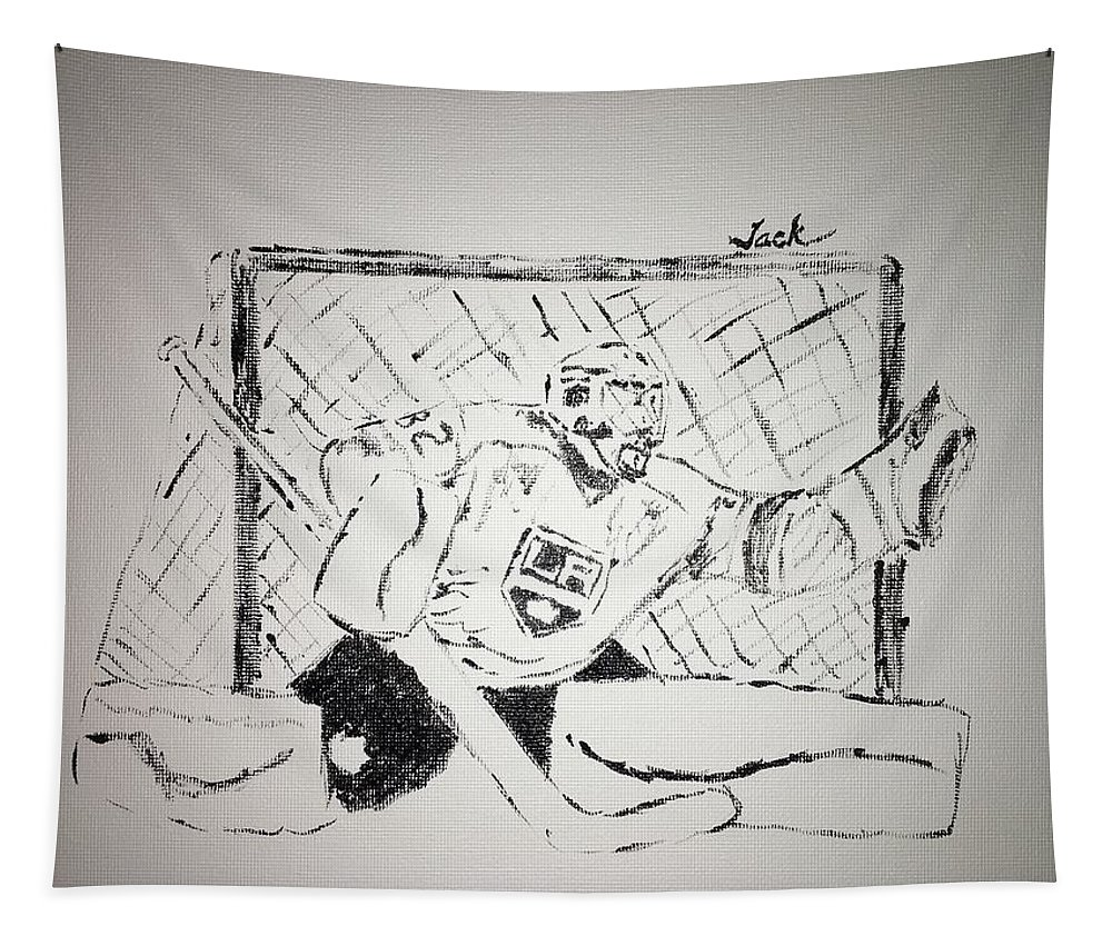 Jonathan Quick Tapestry featuring the painting Jonathan Quick by Jack Bunds