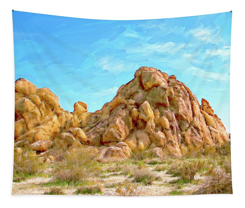 Rocks Tapestry featuring the painting Joshua Tree Rocks by Dominic Piperata