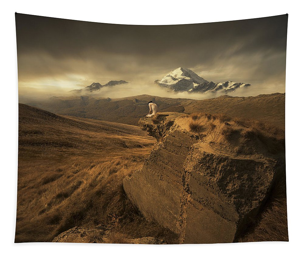 Mountains Ruins Valley Peak Snow Landscape Grass Figure Naked Loneliness Sky Light Sun Freedom Space Wide Tapestry featuring the photograph Journey Of One by Michal Karcz