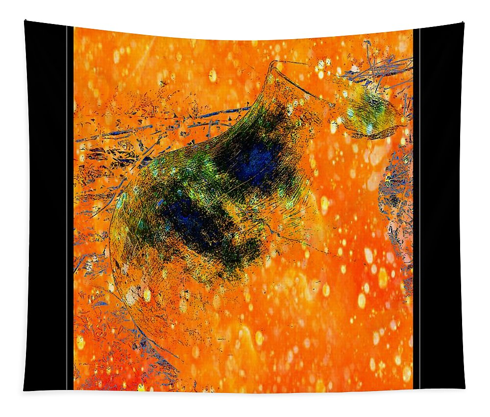 Jug Tapestry featuring the photograph Jug In Black And Orange by Charles Muhle
