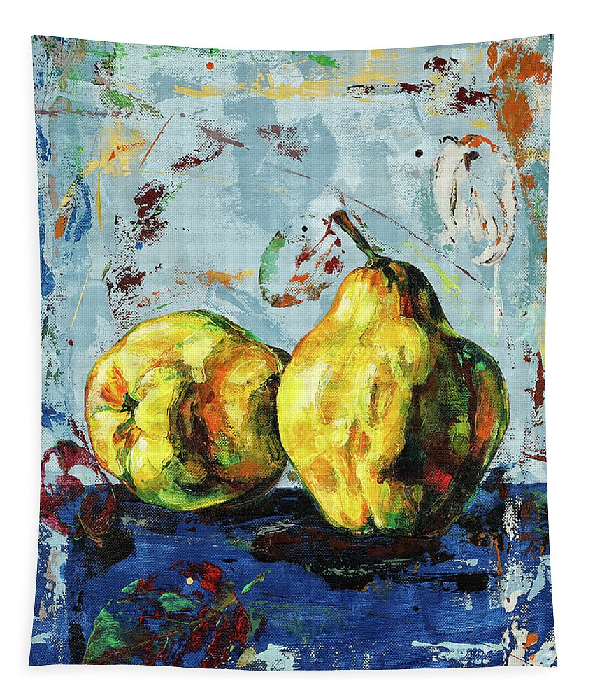 Quince Tapestry featuring the painting Juicy Quinces by Maria Arnaudova