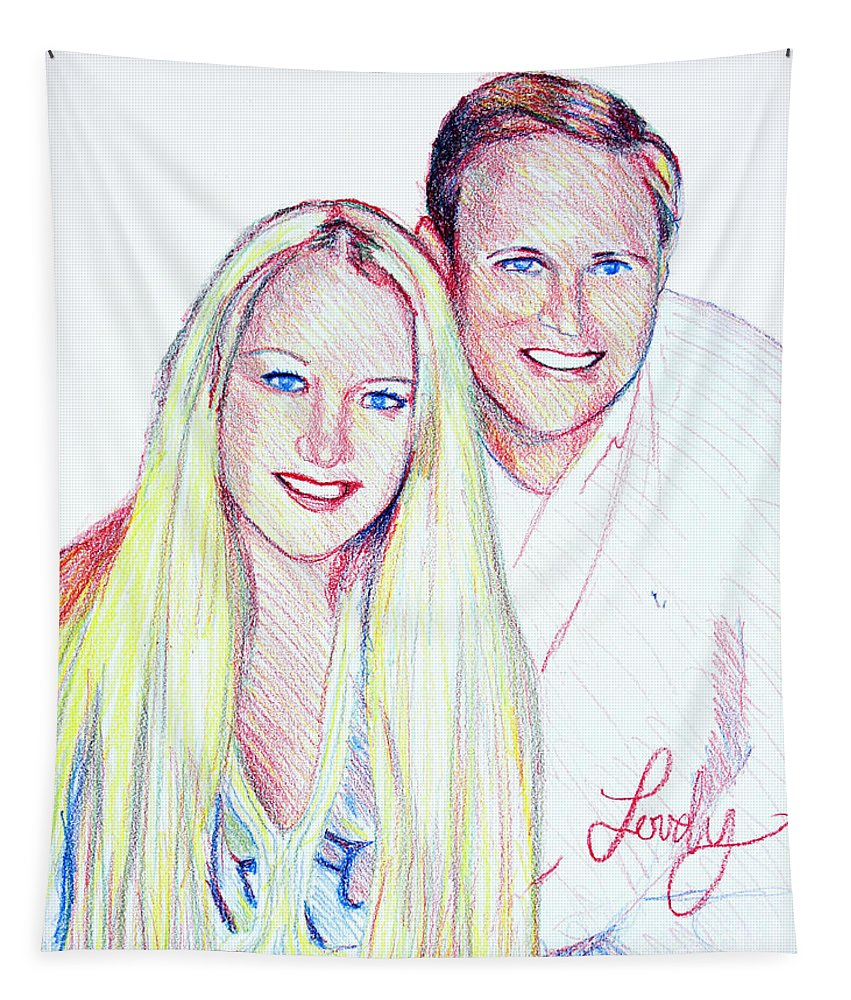 Portrait Tapestry featuring the drawing Jules And Tim by Candace Lovely