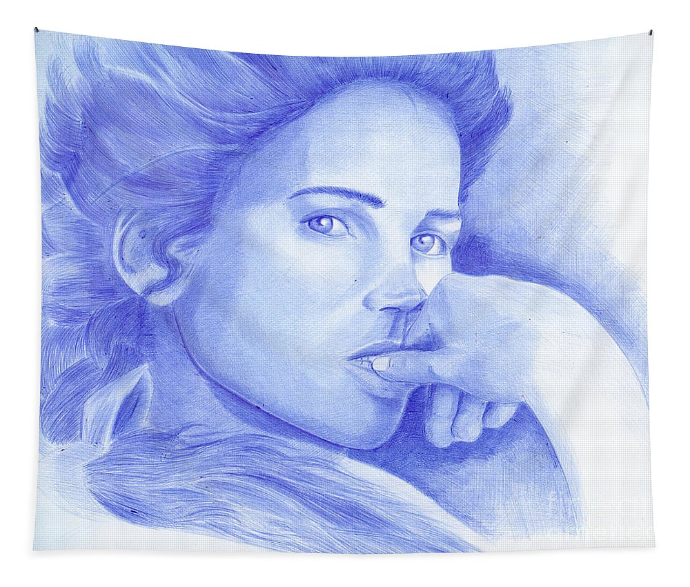 Julia Ormond Tapestry featuring the painting Julia Ormond by Oleg Kozelskiy