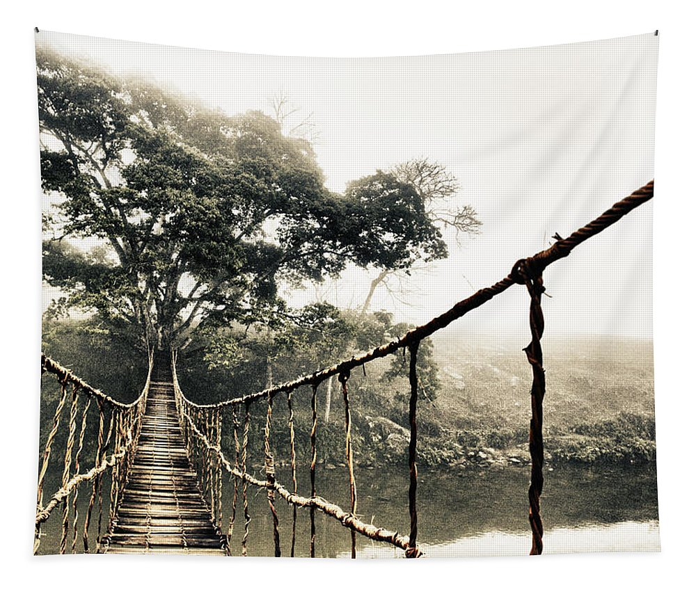 Rope Bridge Tapestry featuring the photograph Jungle Journey 7 by Skip Nall