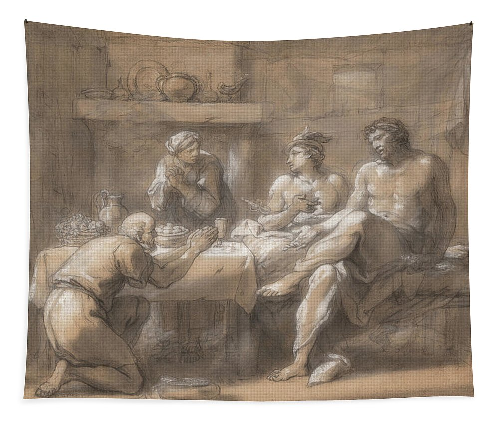 Painting Tapestry featuring the painting Jupiter And Mercury In The House Of Baucis And Philemon by Collin de Vermont