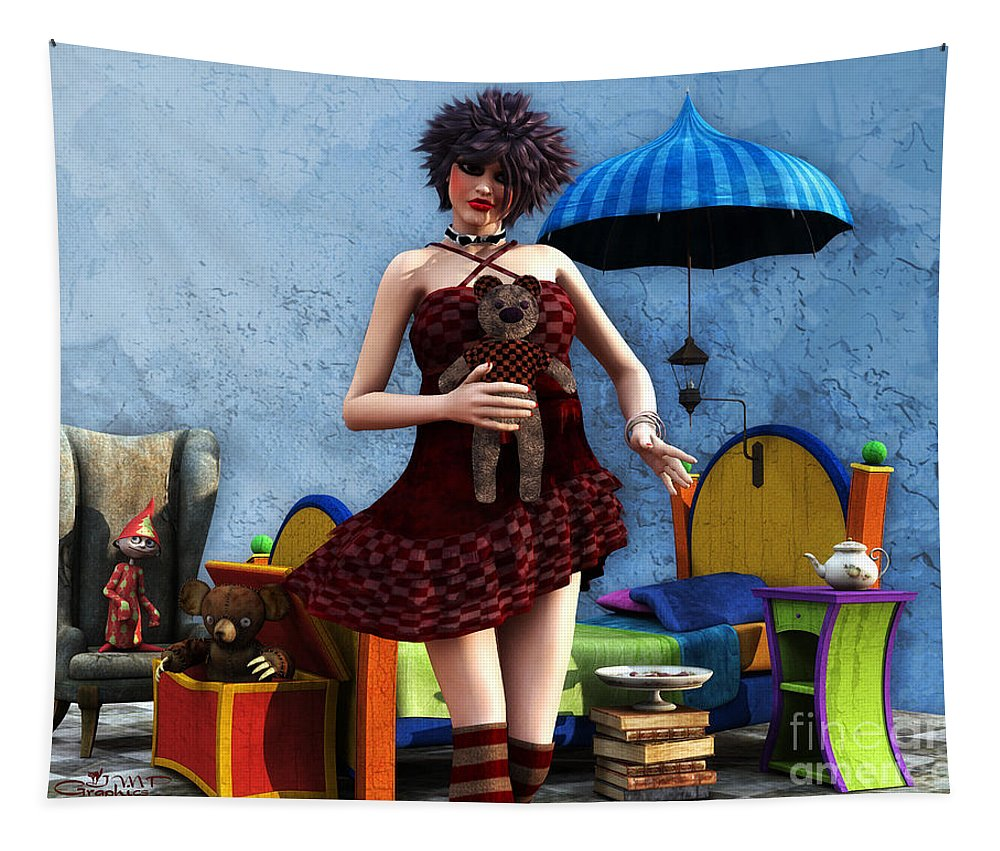 3d Tapestry featuring the digital art Just A Doll by Jutta Maria Pusl