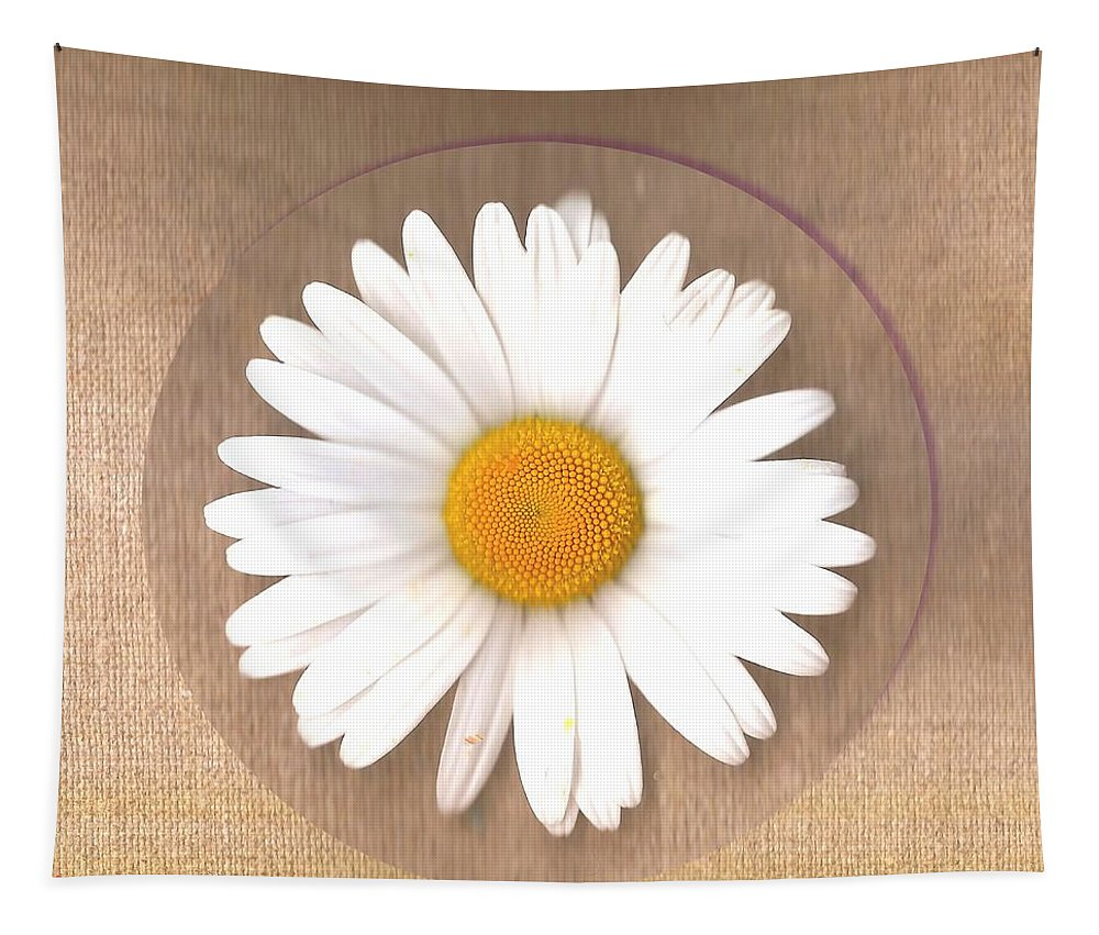 Canvas Tapestry featuring the mixed media Just A Lonely Flower On Canvas by Pepita Selles
