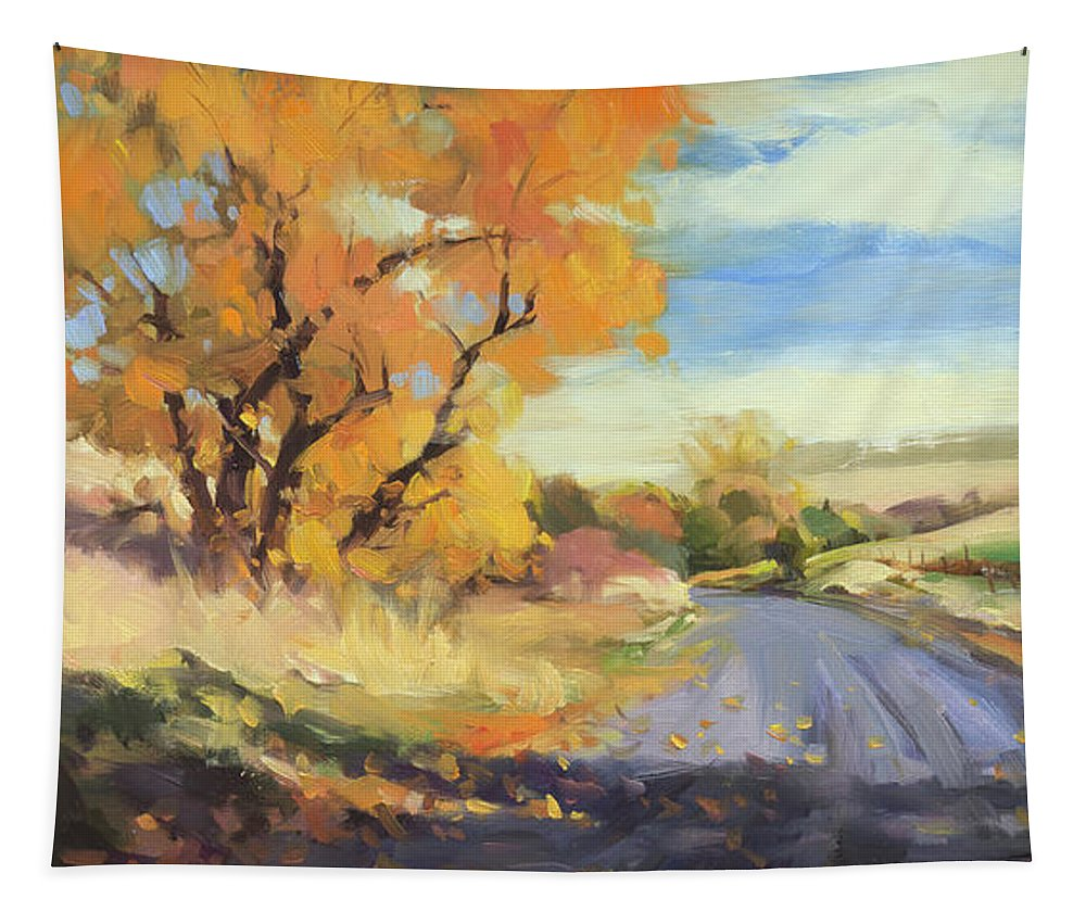 Country Tapestry featuring the painting Just Around the Corner by Steve Henderson