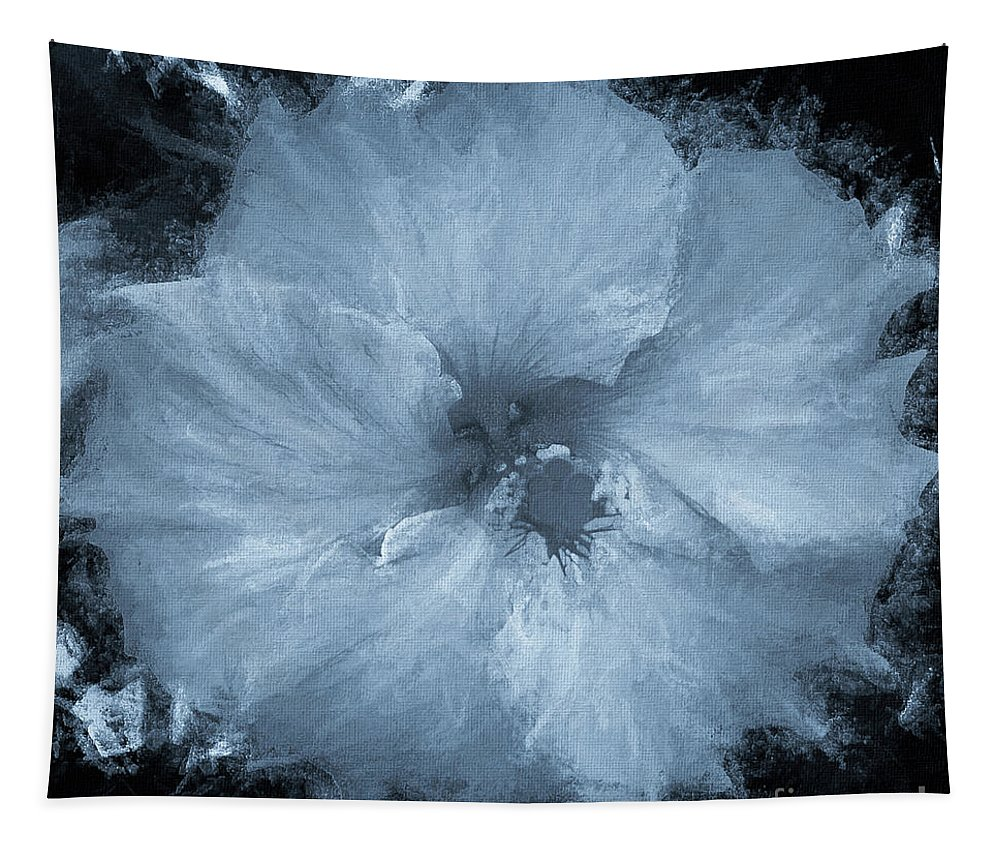 Mona Stut Tapestry featuring the mixed media Blue Hibiscus Floral Portrait by Mona Stut