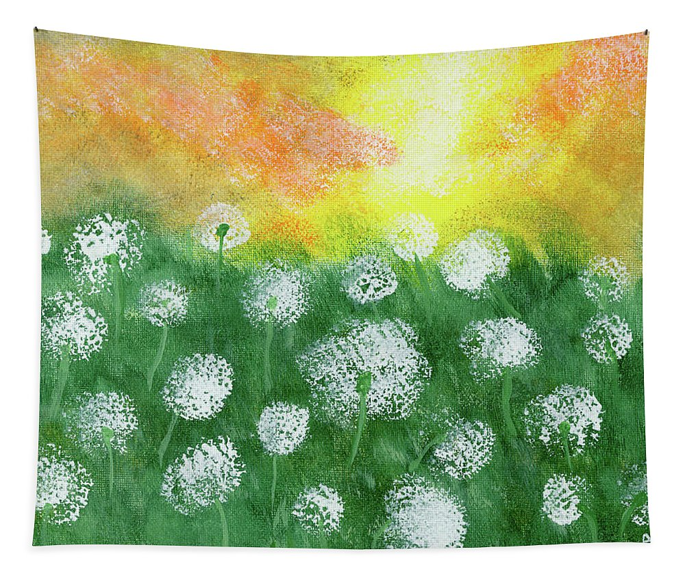 Impressionist Tapestry featuring the painting Justin's Dandelions by Alexis Grone