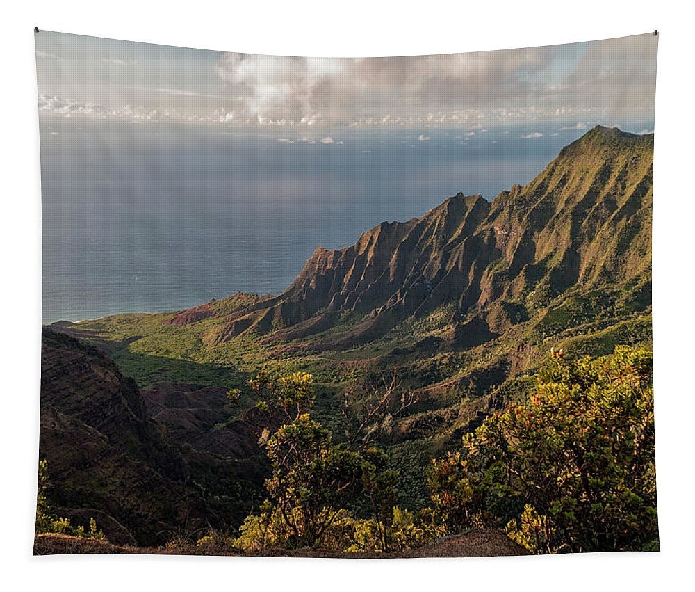 Kalalau Valley Lookout Kauai Hawaii Mountain Landscape Tapestry featuring the photograph Kalalau Valley 3 by Brian Harig