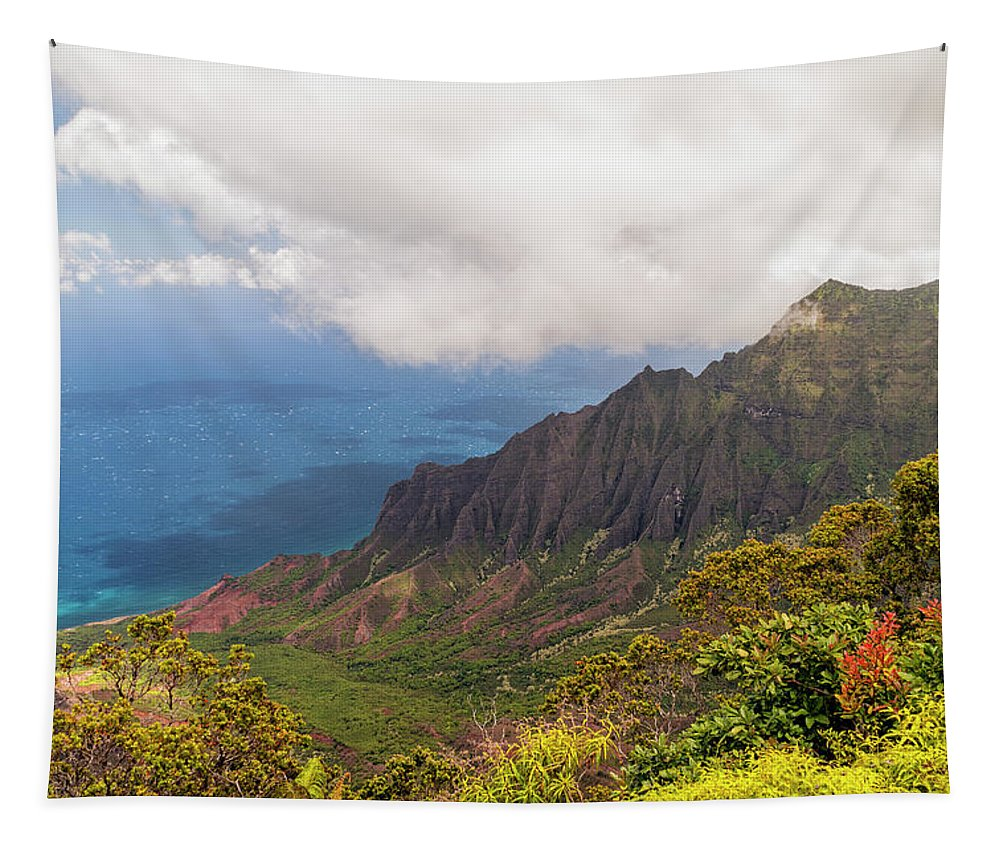 Kalalau Valley Lookout Kauai Hawaii Hi Mountain Landscape Tapestry featuring the photograph Kalalau Valley by Brian Harig