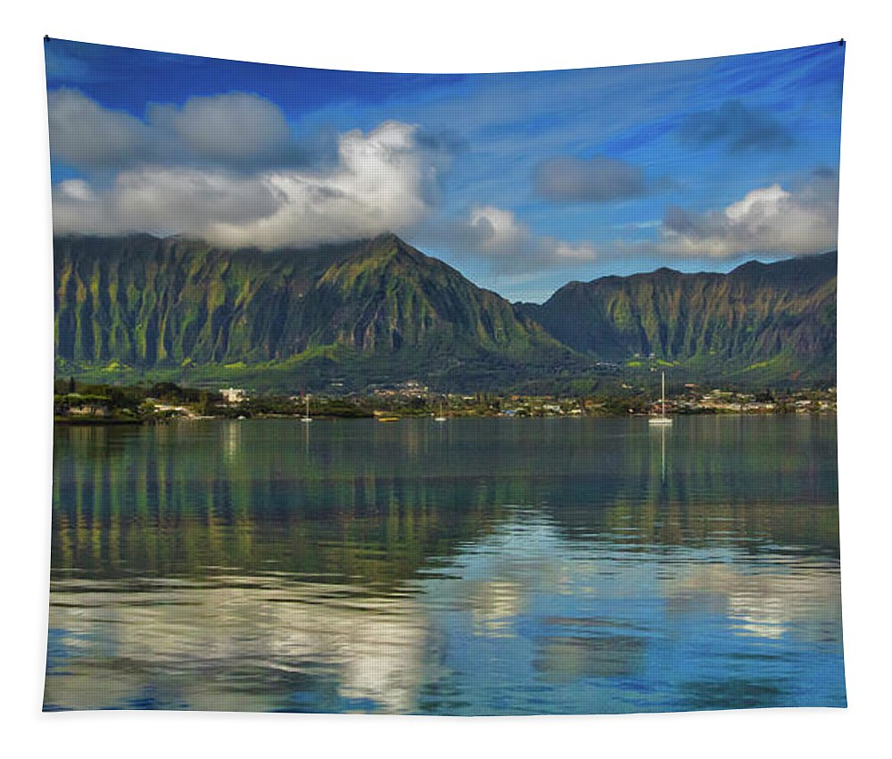 Kaneohe Bay Oahu Hawaii Tapestry featuring the photograph Kaneohe Bay Oahu Hawaii by Mitch Shindelbower