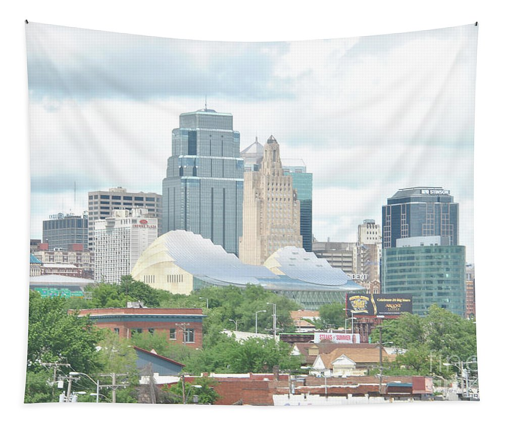 Kansas City Tapestry featuring the photograph Kansas City Skyline by Pamela Williams