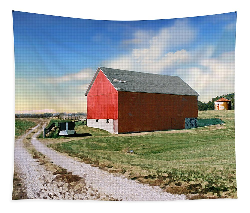 Barn Tapestry featuring the photograph Kansas Landscape II by Steve Karol