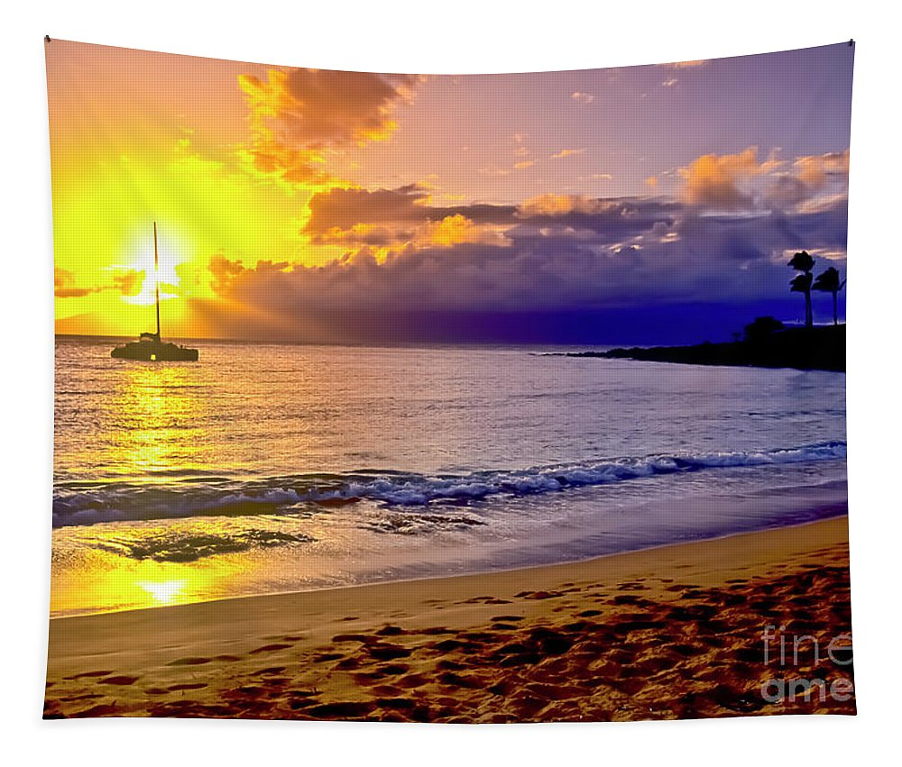 Scenics Tapestry featuring the photograph Kapalua Bay Sunset by Jim Cazel