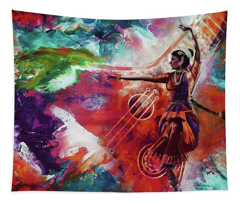 Indian Kathak Dance Tapestry featuring the painting Kathak Dance 99u by Gull G