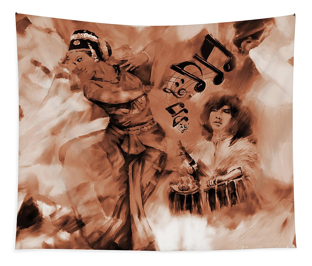 Indian Kathak Dance Tapestry featuring the painting Kathak Dance On Tabla by Gull G