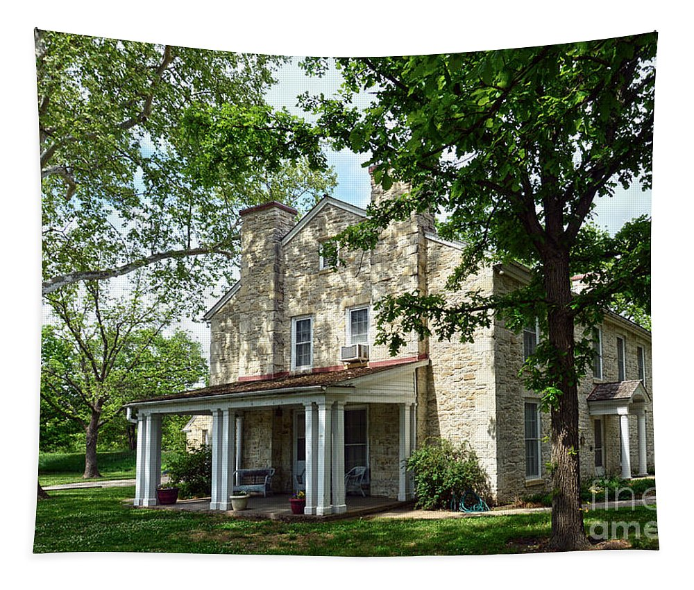 Kaw Mission Tapestry featuring the photograph Kaw Mission, Council Grove, Kansas by Catherine Sherman