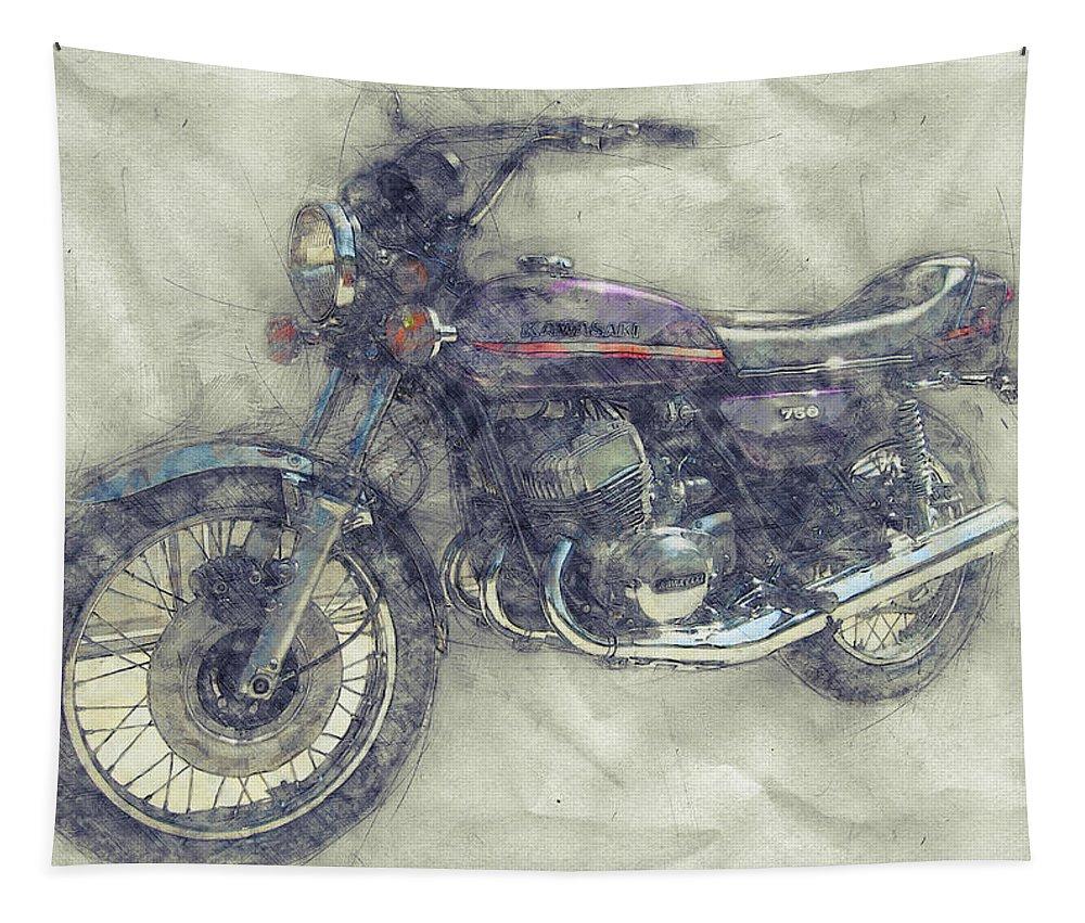 Kawasaki Triple Tapestry featuring the mixed media Kawasaki Triple 1 - Kawasaki Motorcycles - 1968 - Motorcycle Poster - Automotive Art by Studio Grafiikka