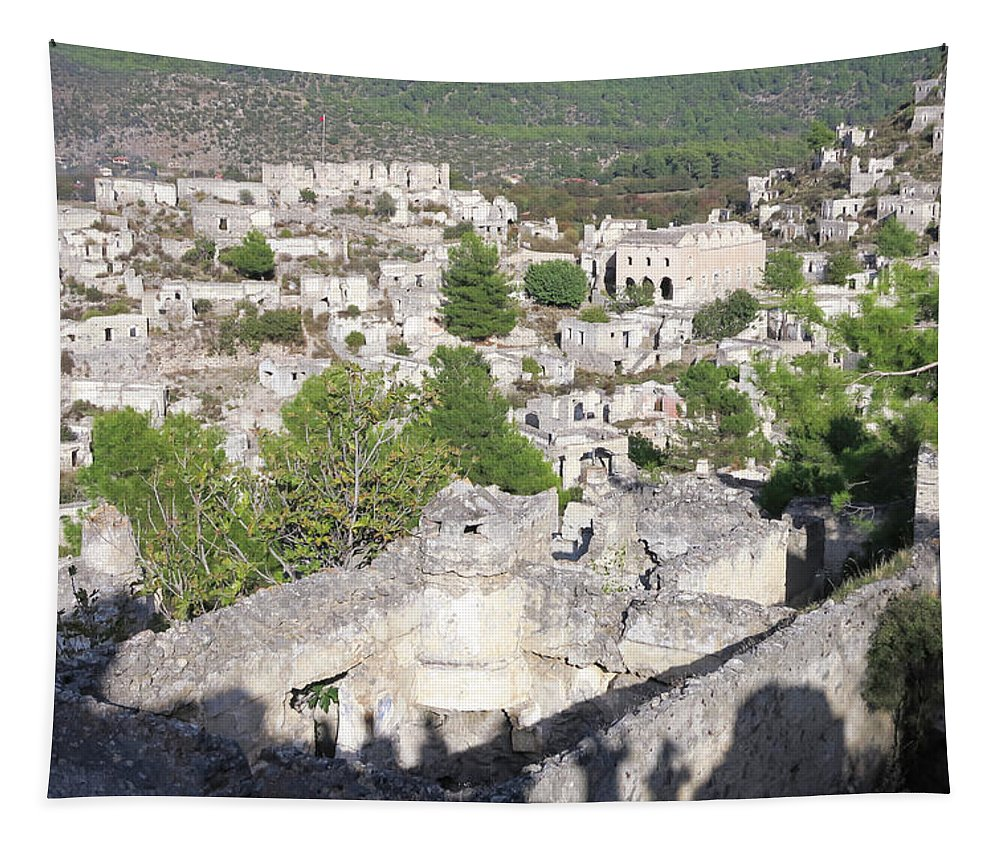 Kayakoy Village No 2 Tapestry featuring the photograph Kayakoy Village No 2 by Phyllis Taylor