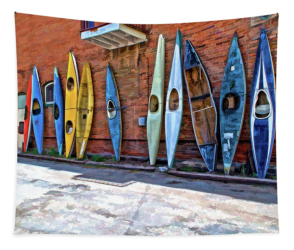 Kayak Tapestry featuring the photograph Kayaks On A Wall by Charles Muhle