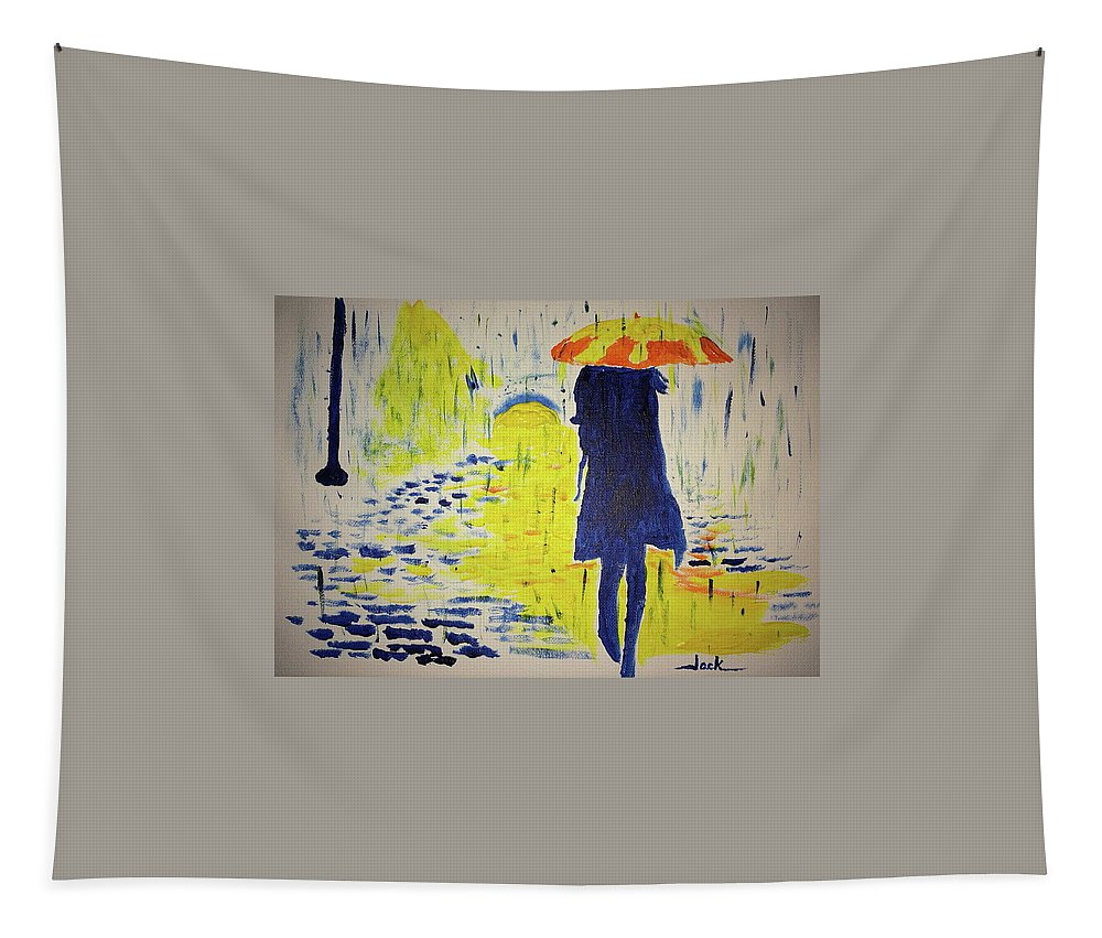 Rain Tapestry featuring the painting Keep Going by Jack Bunds