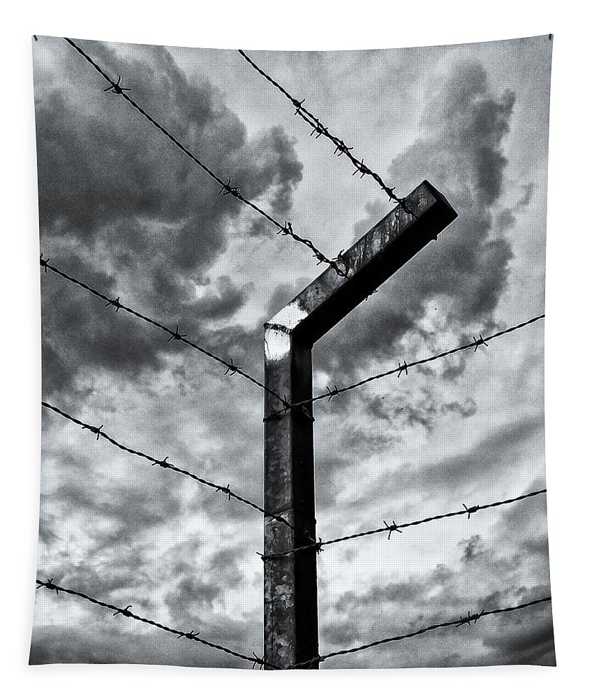 Black And White Tapestry featuring the photograph Keep Out by Karen Stahlros